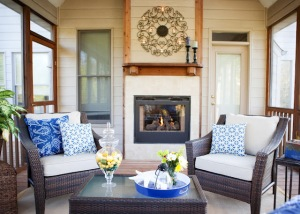 Outdoors as well as indoors, pillows and accessories brighten up a space.