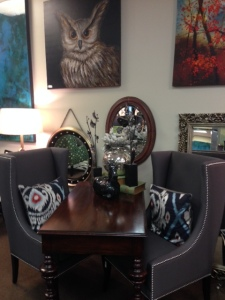 Art, chairs and tables at Hockman Home Decor and Design